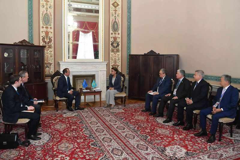 Dariga Nazarbayeva, TurkPA Sec Gen Altynbek Mamayussupov meet in St.Petersburg