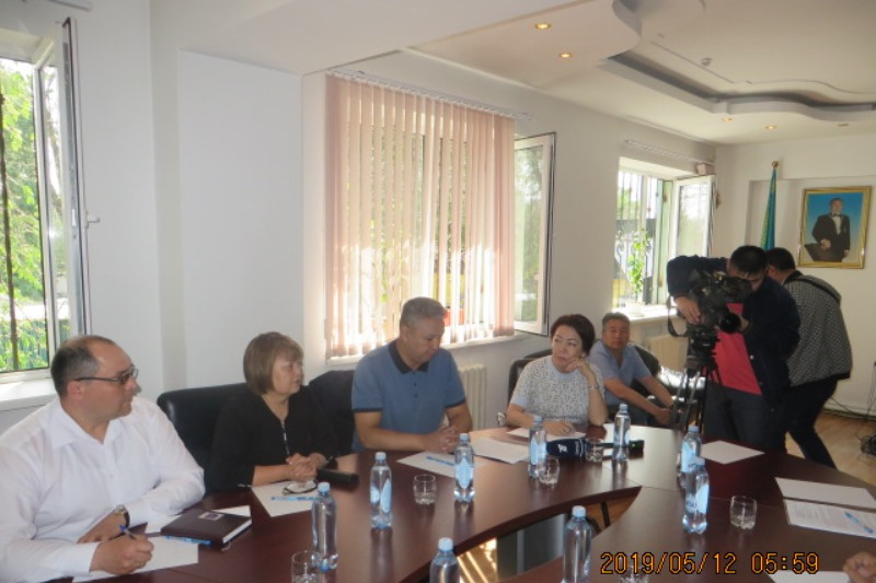 Presidential candidate Daniya Yespayeva meets staff of concrete product plant in Almaty