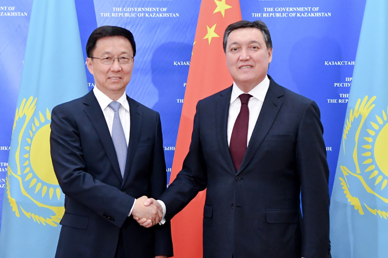 Prime Minister Askar Mamin, Vice Premier of China's State Council Han Zheng review progress of joint projects implementation