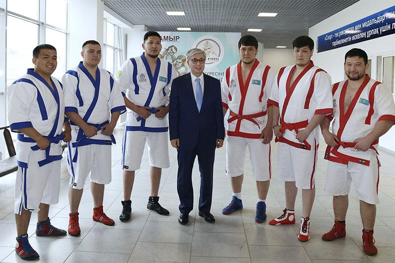 President Tokayev visits Aktobe Wrestling Arena