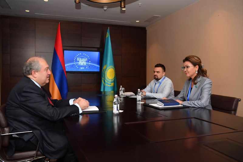 Dariga Nazarbayeva meets Armenian President, Euronews VP in Almaty