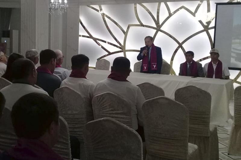 Kazakhstan presidential candidate Sadybek Tugel meets with Atyrau residents