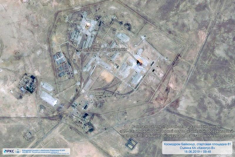 Ракету «Протон-М» на стартовом комплексе Байконура сфотографировали из космоса