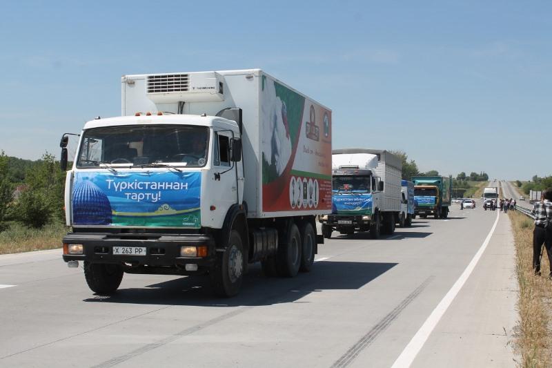 Из Туркестана в Нур-Султан отправился караван сельхозпродукции