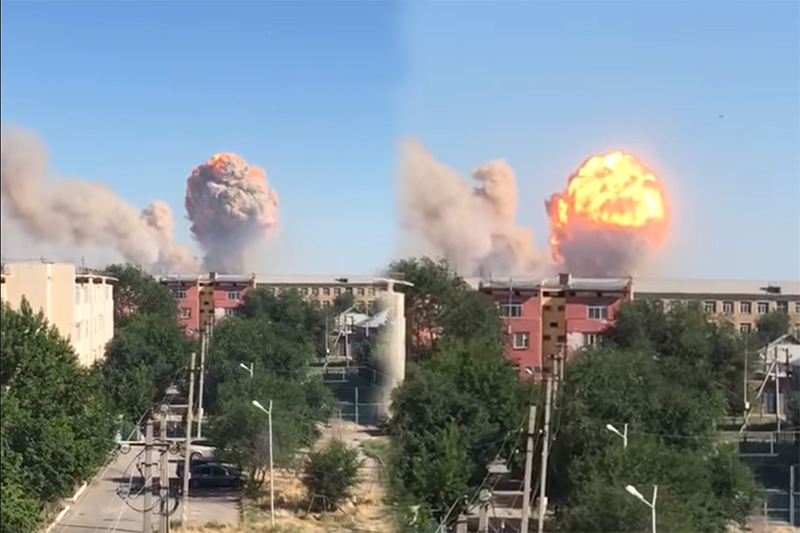 Explosion seen at military unit depot in Arys