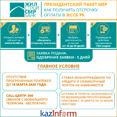 Президентский пакет мер: как получить отсрочку оплаты в ЖССБ РК