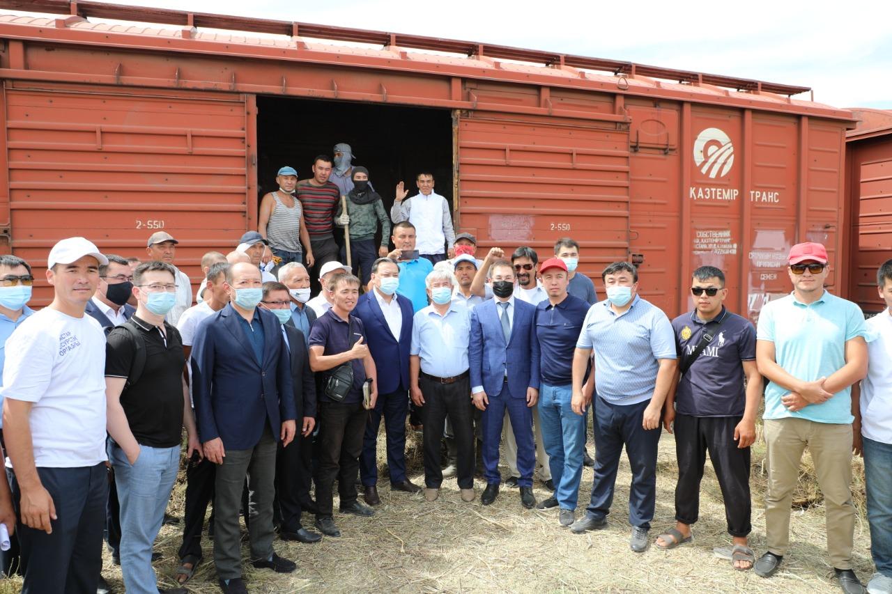 33 вагона сена отправили из Туркестанской области фермерам западных регионов страны