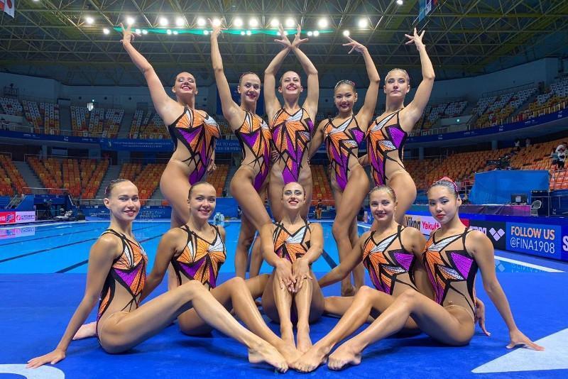 光州世游赛:哈萨克斯坦花样游泳队晋级集体自由组合决赛