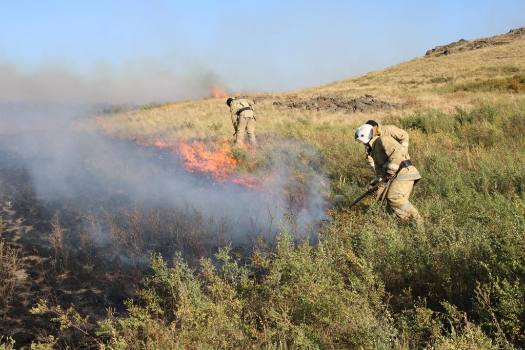 Степные пожары возникли в трёх районах Карагандинской области