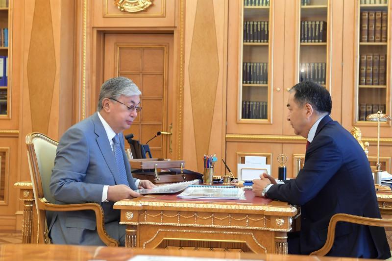 总统接见阿拉木图市市长萨金塔耶夫