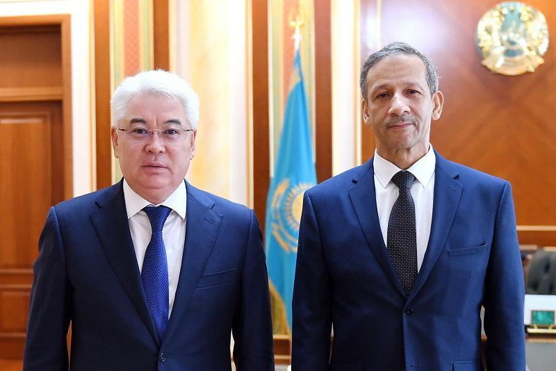 哈萨克斯坦外长会见摩洛哥驻哈大使