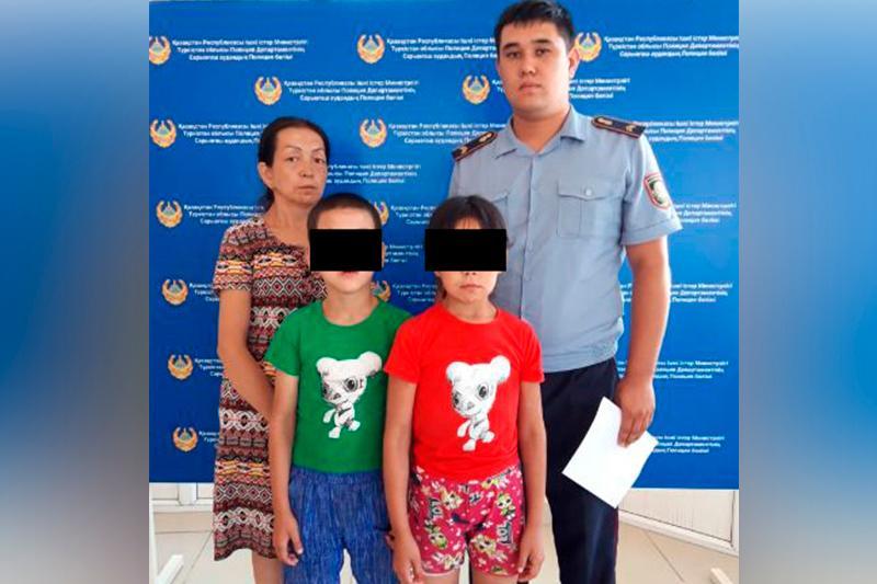 Сарыағашта полиция тауып алған балалар: «Әкемізді іздеп жүрміз»