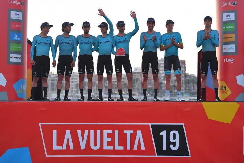 La Vuelta Ciclista a España. Astana wins opening team time trial