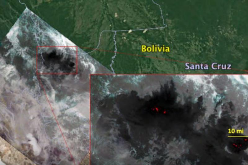 Масштабные лесные пожары в Бразилии и Боливии засняли из космоса