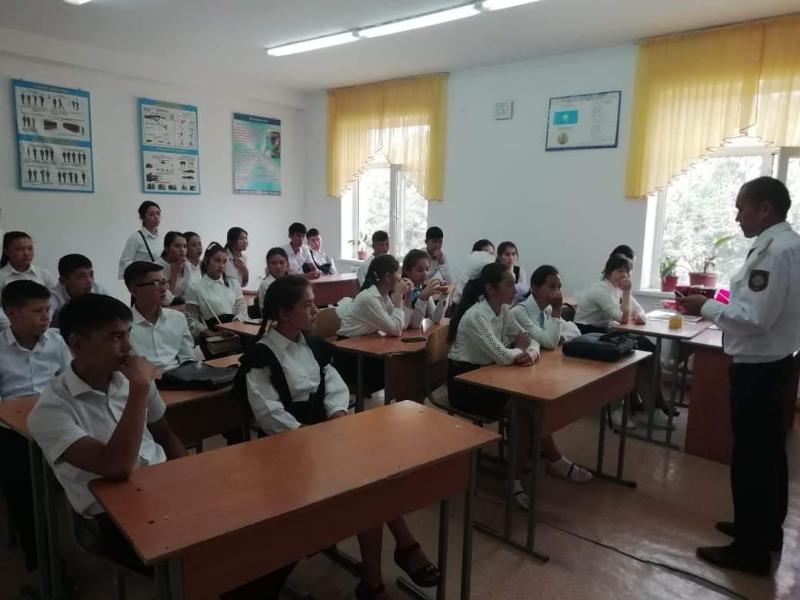 Сарыағаштық оқушылардың қауіпсіздігін полицейлер қамтамасыз етпек