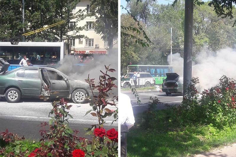 Алматының орталығында жеңіл автокөлік өртеніп жатыр
