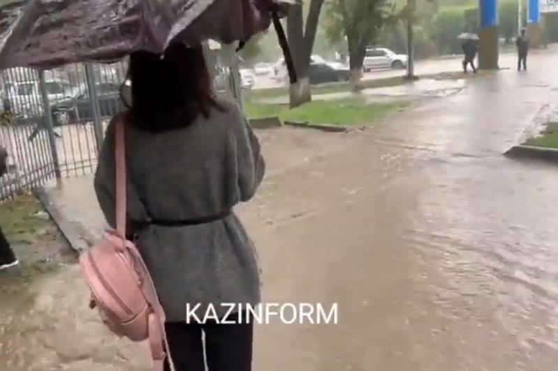 Rains flood Almaty city streets