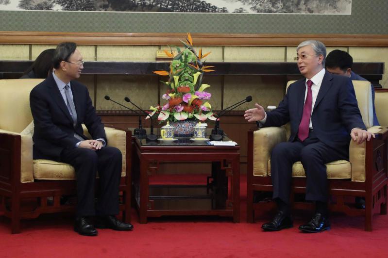 Kassym-Jomart Tokayev meets member of CPC Central Committee Political Bureau Yang Jiechi