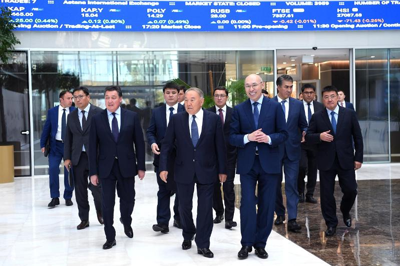 N Nazarbayev visits Astana International Financial Center