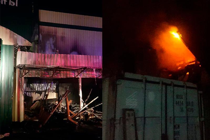 Пожар произошёл на барахолке в Алматы