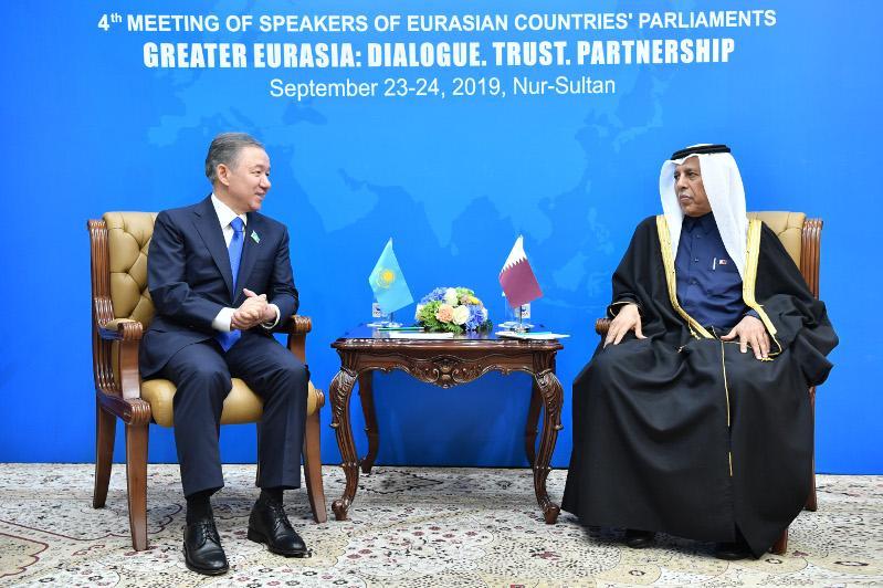 Majilis Speaker favors development of inter-parliamentary relations with Qatar
