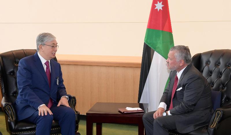 托卡耶夫总统会见约旦国王阿卜杜拉二世