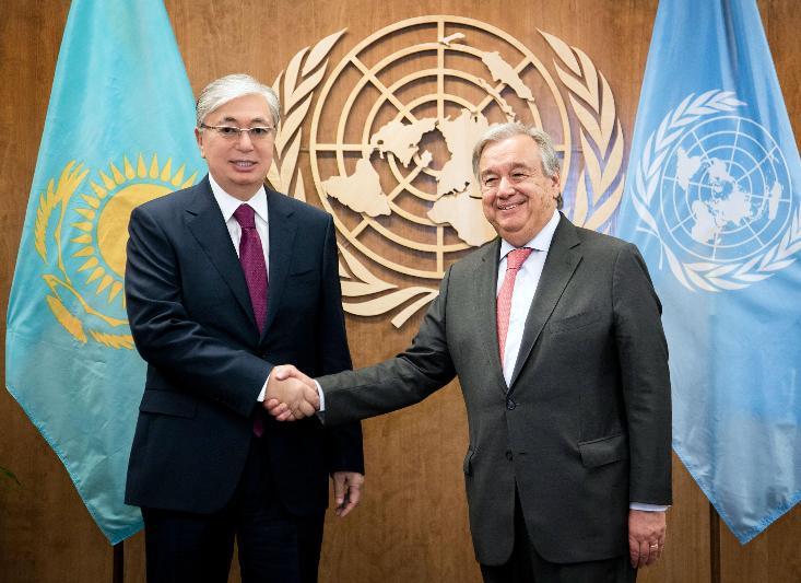 托卡耶夫总统会见联合国秘书长古特雷斯