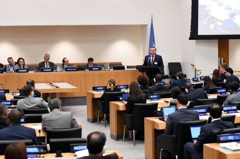 哈萨克斯坦外交部长在联合国安全理事会上发表讲话