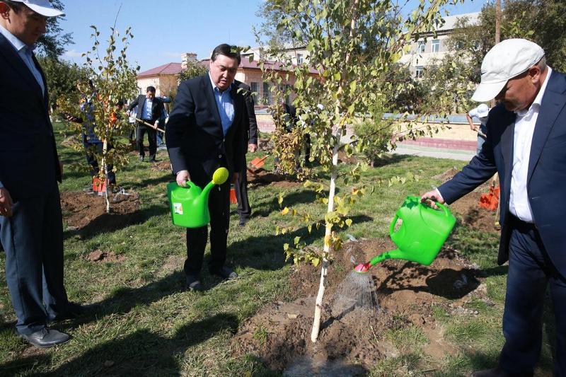 PM Mamin, Mayor of Turkestan region launch republican tree planting campaign