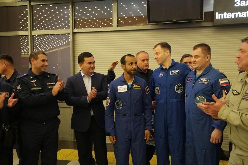 Космонавтов экипажа «Союза МС-12» встретили в Караганде