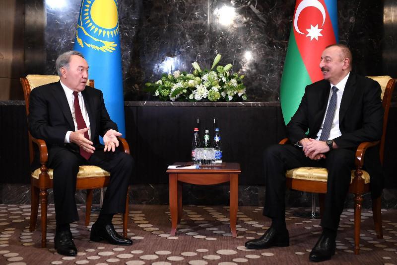 Nursultan Nazarbayev, Ilham Aliyev have talks