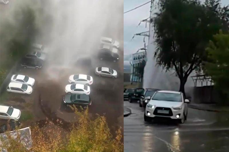 Очередное ЧП в Алматы: трубопровод прорвало по проспекту Райымбека
