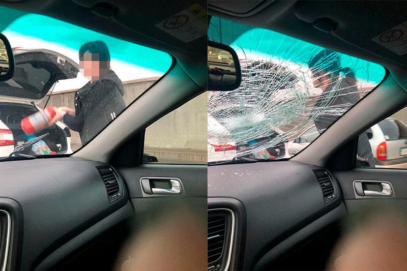 Женщина разгромила машину на дороге в Алматы