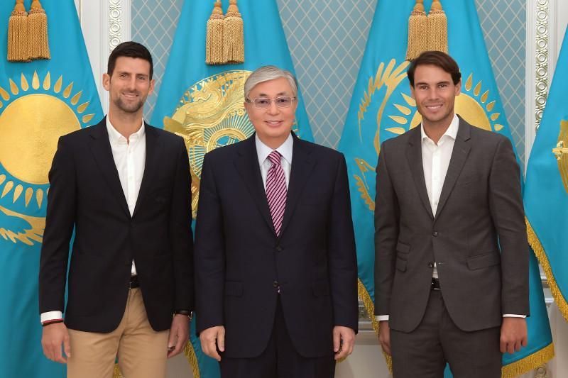 ҚР Президенті әлем теннисінің жұлдыздары Надаль және Джоковичпен кездесті