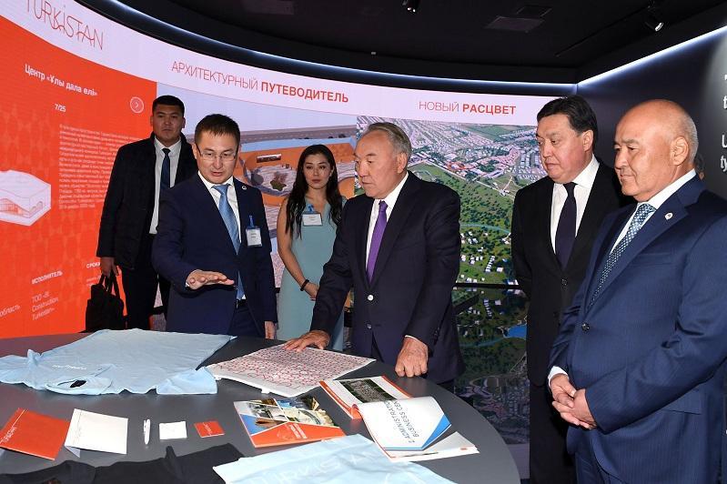 纳扎尔巴耶夫参访突厥斯坦州新行政大楼
