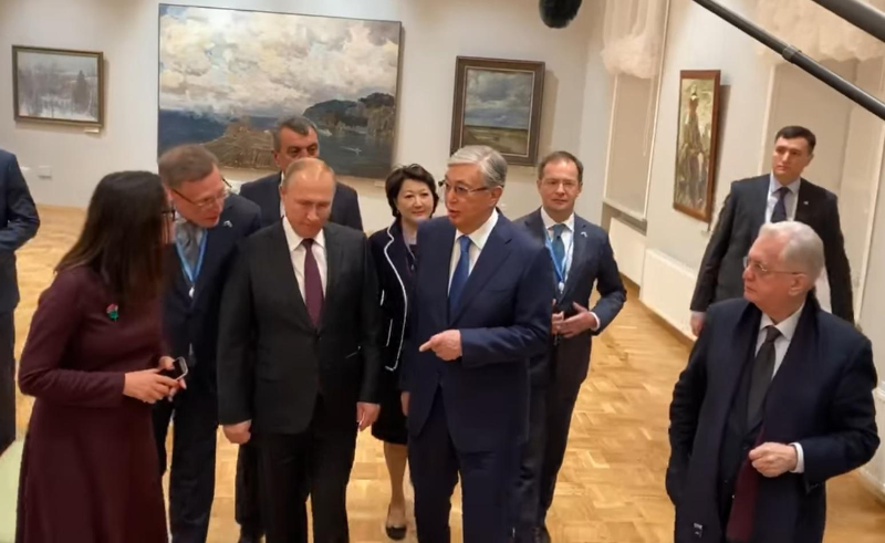 Касым-Жомарт Токаев и Владимир Путин посетили филиал Эрмитажа в Омске