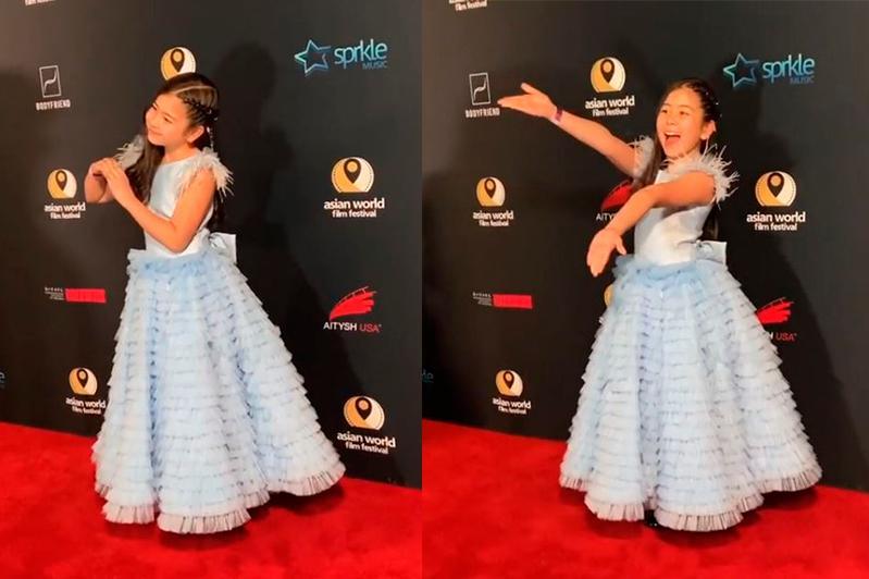 哈萨克斯坦11岁小女孩亮相2019亚洲国际电影节红毯