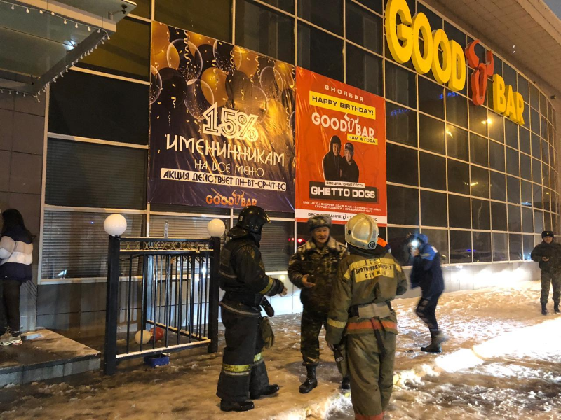 8 evacuated as bar catches fire in Kazakh capital