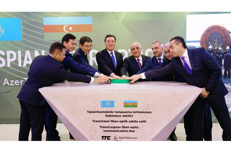 Kazakh, Azerbaijani PMs launch construction of fiber optic links along the bottom of Caspian Sea