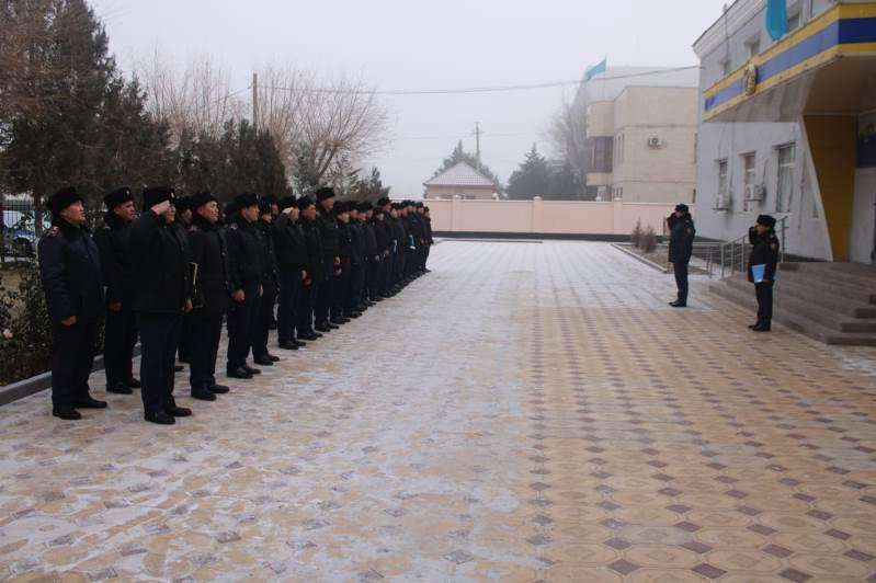 Түркістан облысының әр ауданында полицейлердің саптық байқау өткізілуде