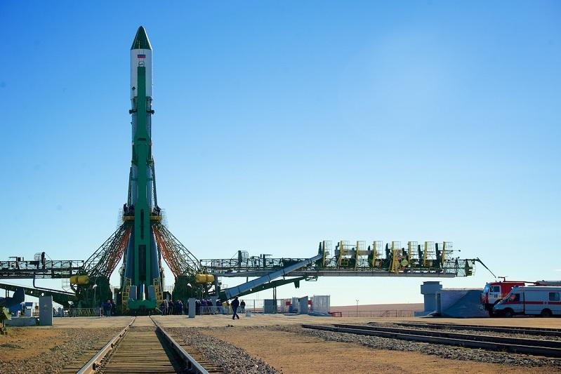 Progress MS-13 space truck is installed at Baikonur launch complex
