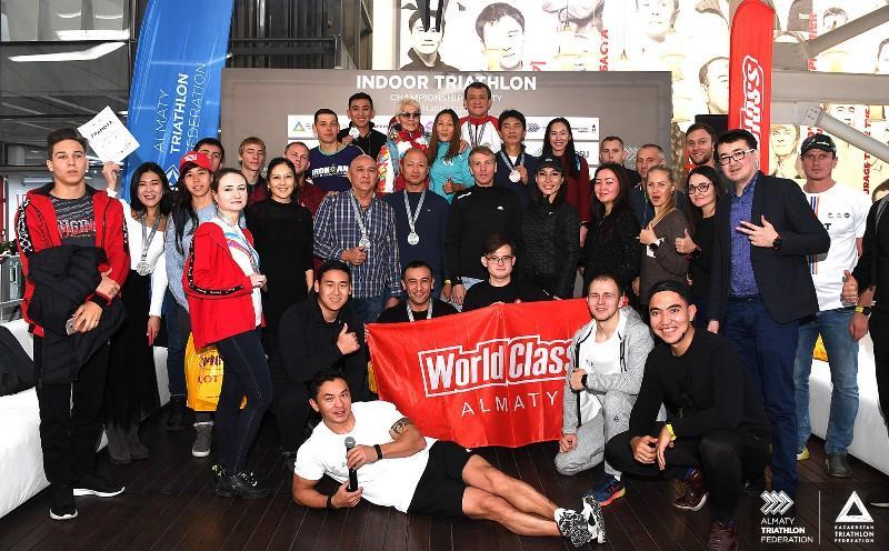 В Алматы определились победители чемпионата по триатлону в закрытых помещениях