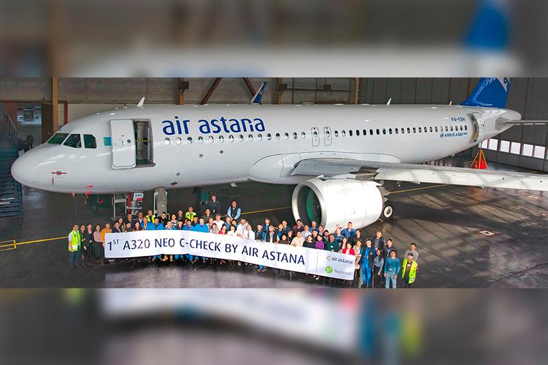 Air Astana completes first C-check on Airbus A320neo at Almaty Airport base