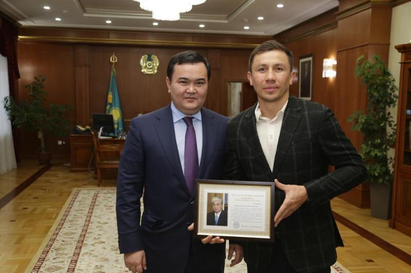 Governor of Karaganda region, Gennady Golovkin meet
