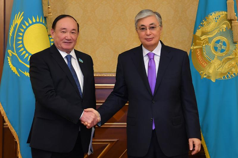 """托卡耶夫总统接见""""阿吾勒""""人民民主党主席"""