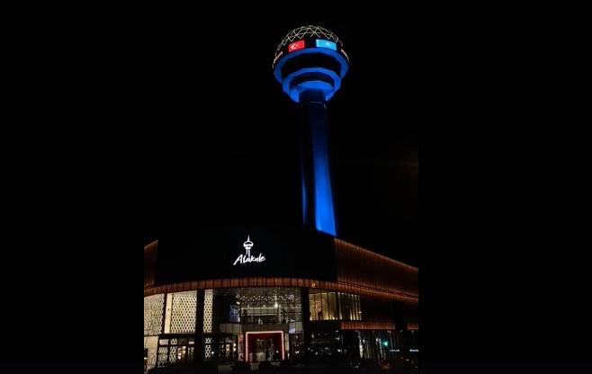 Башню Атакюле в Анкаре подсветили в цвета флага Казахстана