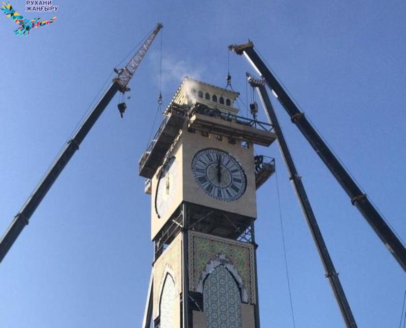 В Таразе запустили стрелки башенных часов в строящемся комплексе «Шахристан»