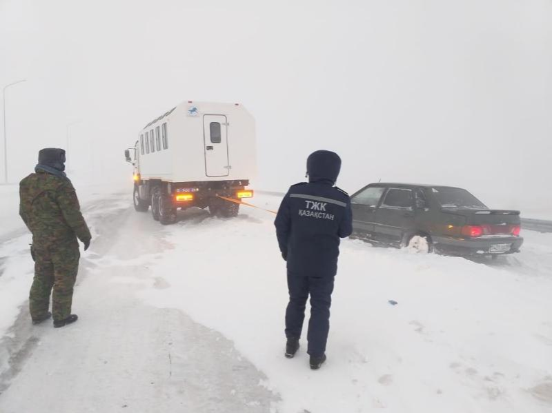 More than 110 people rescued from snow on Karaganda region's roads