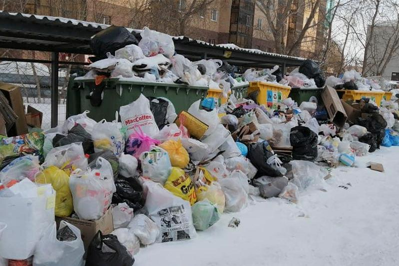 Мусоровозы не могут проехать к контейнерам в столице из-за снежных завалов