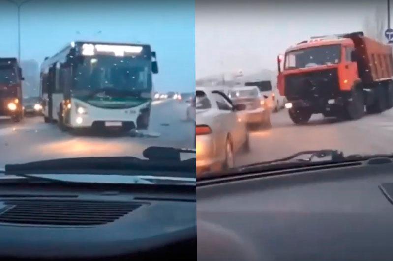 КамАЗ столкнулся с автобусом в столице